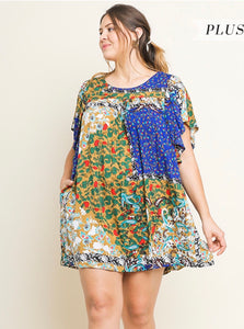 Umgee Blue Patchwork Dress