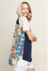 Umgee Navy Floral Hooded Top