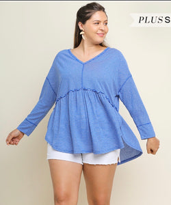 Umgee Blue Stripe Babydoll Top