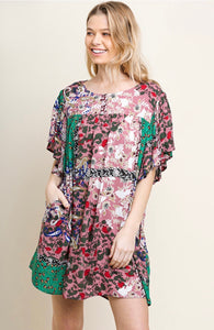 Umgee Green and Pink Patchwork Dress
