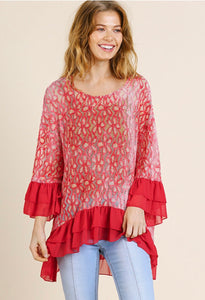 Umgee Red Lace Top