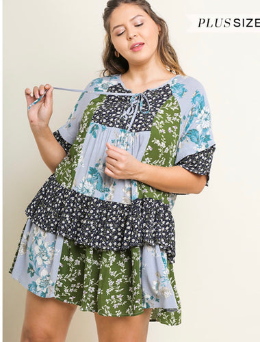 Umgee Blue and Green Floral Dress