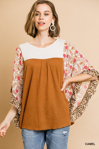 Umgee Camel Animal Sleeve top