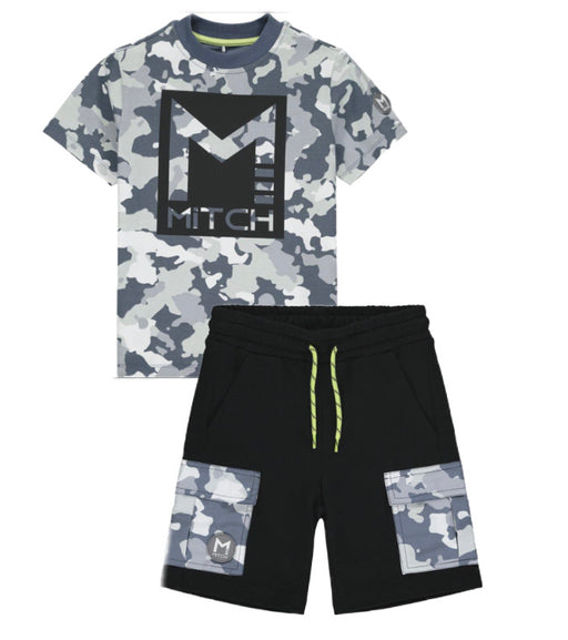 Mitch Camo Black Shorts Set