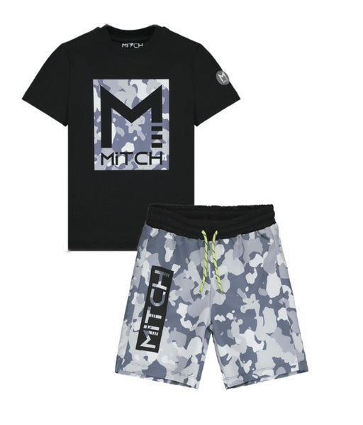 Mitch Black Camo Shorts Set