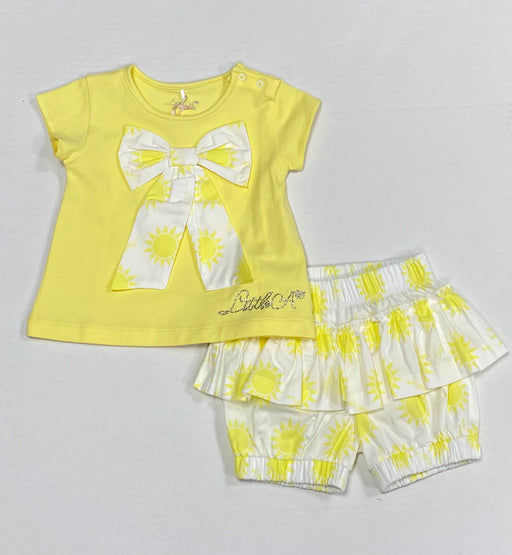 Little A Sunshine Bow Shorts Set