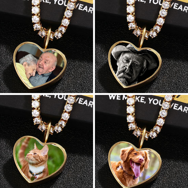 Personalized Photo Cremation Urn Necklace For Ashes Custom Engraving Heart Pendant Memorial Keepsake 18k Gold Jewelry
