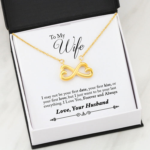 Beautiful Infinity HEART Necklace With Husband To Wife First Romantic Message Card