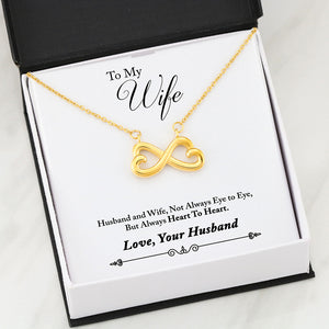 Beautiful Heart Infinity Necklace With Husband To Wife Heart Message Card