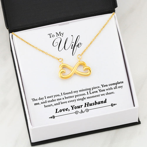 Beautiful Infinity Heart Necklace With Husband To Wife You Complete Me Message Card
