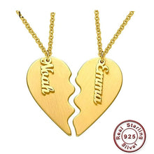 Personalized Couple Heart Necklace- Double Heart Necklace come up with box chain