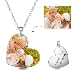 Heart Shape Personalized Photo Necklace- Custom Color Necklace With Any Color Photo And Text