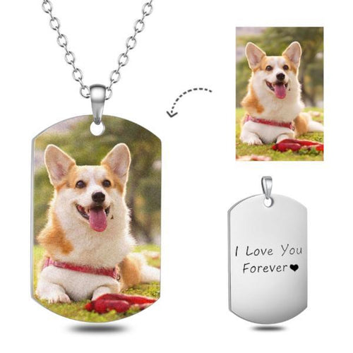 Surgical Stainless Steel Custom Pet Color Photo Necklace- Personalized Dog Tag Pet Photo Necklace