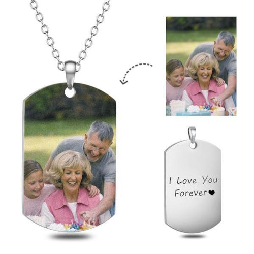 Custom Color Photo Necklace- Personalize Color Photo Necklace With Photo And Text