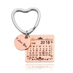 Personalized Keychain With Date, Photo, Engrave Text- Christmas Gifts For Men
