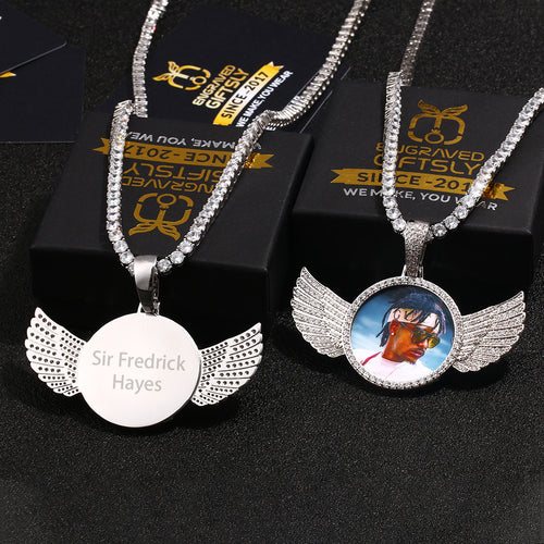 Custom 18k Gold Plated Wings Photo Medallion Necklace