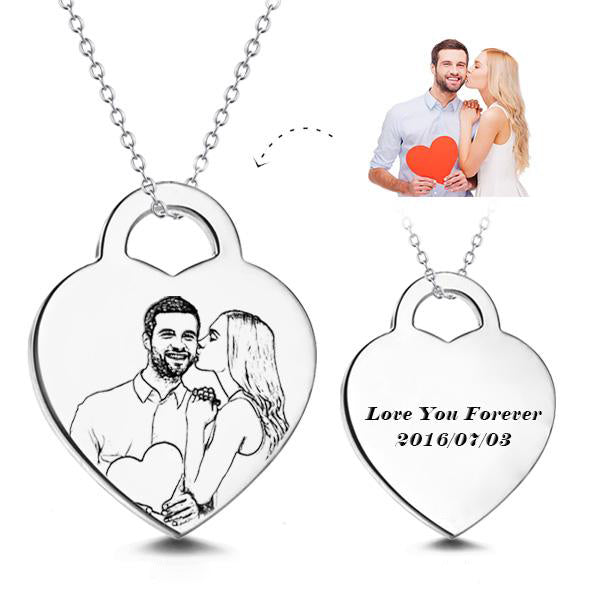 Personalized Heart Photo Necklace- Heart Pendant Personalized Photo Necklace With Text