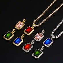 Geometry Square Crystal Pendant Charm Necklace- Women's Hip Hop Jewelry
