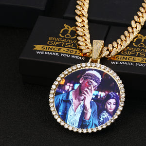 Plating Of 18K Gold Medallion Necklace- 12MM Cuban Chain Photo Medallion Necklace For Men