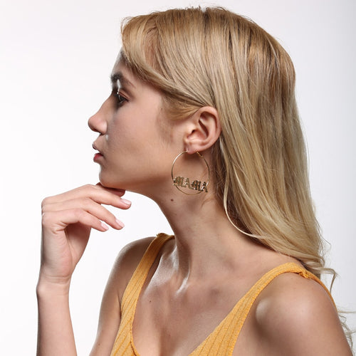18K Gold Plated Custom Name Hoops Earring- Big And Small Hoops Name Earring