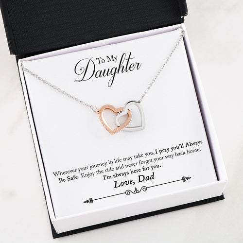 Interlocking Heart Necklace With Dad To Daughter You Will Be Safe Message Card