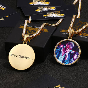 18K Gold Plated Personalized Photo Medallions Necklace For Men