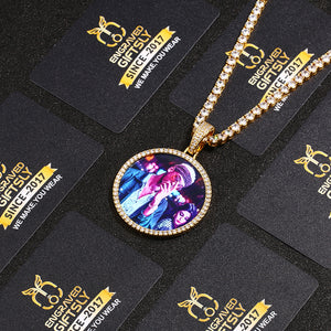 Custom Photo Medallion Necklace- Plating Of Gold Medallion Necklace