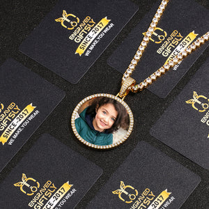Custom Photo Medallion Necklace- Plating Of Gold Medallion Necklace Christmas Gifts For Girlfriend