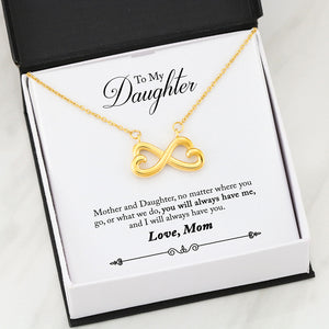 Beautiful Heart Infinity Necklace With Mom To Daughter Remember Always Message Card