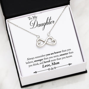 Beautiful Heart Infinity Necklace With Mom To Daughter You Are Braver Message Card