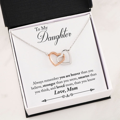 To My Daughter Interlocking Heart Necklace With Inspirational