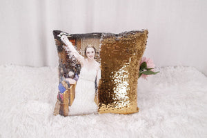 Custom Photo Sequin Cushion Cover