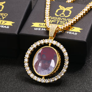 18k Gold Plated 3D Photo Printed Rotating Double-Sided Custom Photo Medallion Necklace