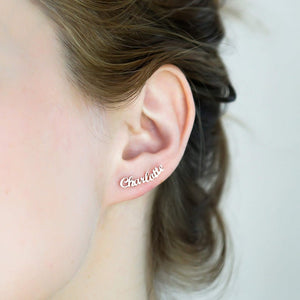 Cursive Nameplate Stud Custom Name Earrings- Best Christmas Gifts For Girlfriend