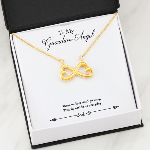 Beautiful Heart Infinity Necklace With My Guardian Angel Message Card
