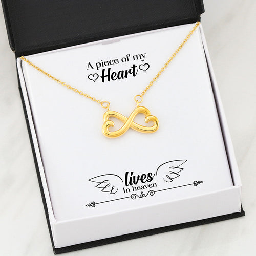 Beautiful Heart Infinity Necklace With Remembrance Piece Message Card