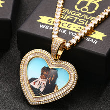 18K Gold Plated With Zirconia Stone Custom Photo Heart Medallion necklace