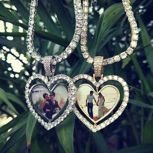 Custom Made Photo Heart Rotating Double-sided Medallions Necklace Christmas Gifts For Boyfriend