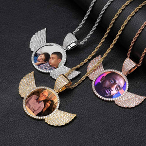 Custom Made Photo Wings Medallions Necklace- Best Christmas Gifts 2020