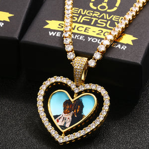 18k Gold Plated Heart Rotating Custom Double-sided Photo Medallion Necklace
