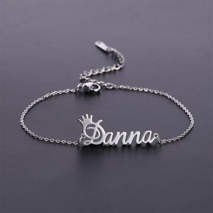Custom Crown Name Anklet Bracelet- Best Christmas Gifts For Women