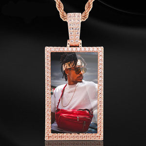 Custom Square Photo Medallion Necklaces For Men