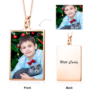 Rectangle Personalized Photo Necklace- Custom Necklace With Any Photo And Text