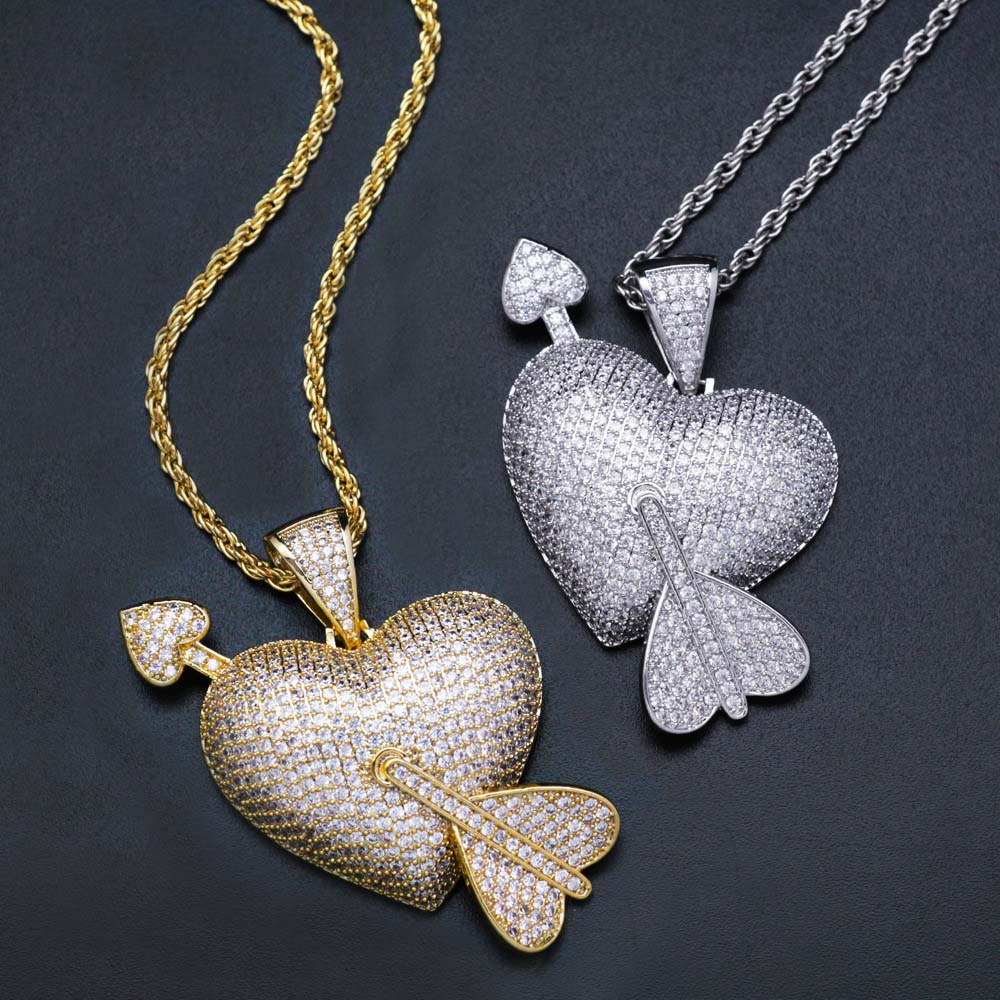 18K Gold Plated Crystal Arrow Heart Pendant Bling Hip Hop Jewelry