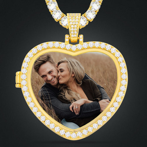 Custom Heart Photo Medallions Necklace Christmas Gifts For Couple