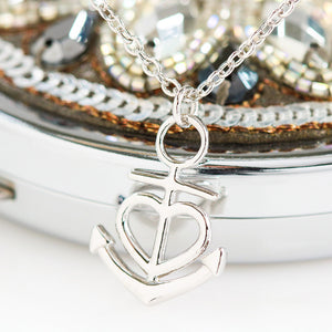 "Anchor Heart Necklace With Beautiful ""I Love You"" Message Card For Wife"