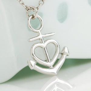 "Gifts For Mom Anchor Heart Necklace With Son To Mom Adorable ""I Love You"" Message Card"