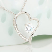 "Beautiful Cubic Zirconia Heart Shape Necklace With Dad To Daughter ""Be Safe Message Card"