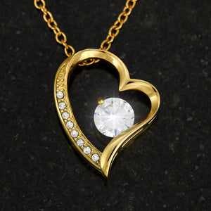 Cubic Zirconia Heart Necklace With Son To Mom Adorable Message Card - Gifts For Mom