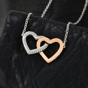 "To My Daughter Interlocking Heart Necklace With Inspirational ""Braver"" Message Card"